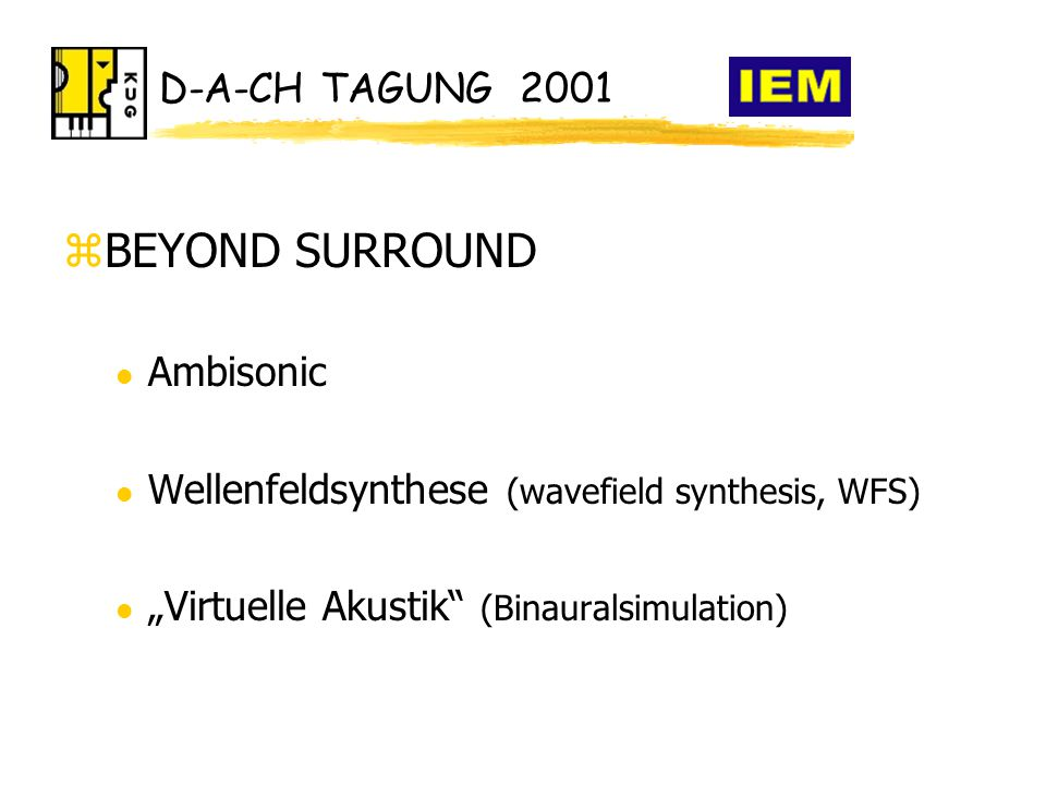 "D-A-CH TAGUNG 2001 zBEYOND SURROUND l Ambisonic l Wellenfeldsynthese (wavefield synthesis, WFS) l ""Virtuelle Akustik (Binauralsimulation)"