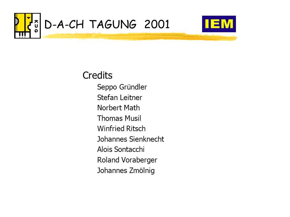 D-A-CH TAGUNG 2001 Credits Seppo Gründler Stefan Leitner Norbert Math Thomas Musil Winfried Ritsch Johannes Sienknecht Alois Sontacchi Roland Voraberger Johannes Zmölnig