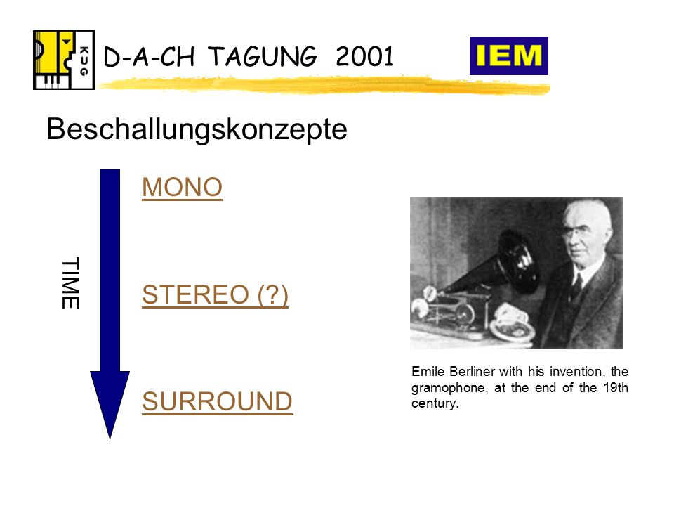 D-A-CH TAGUNG 2001 MONO STEREO ( ) SURROUND TIME Emile Berliner with his invention, the gramophone, at the end of the 19th century.