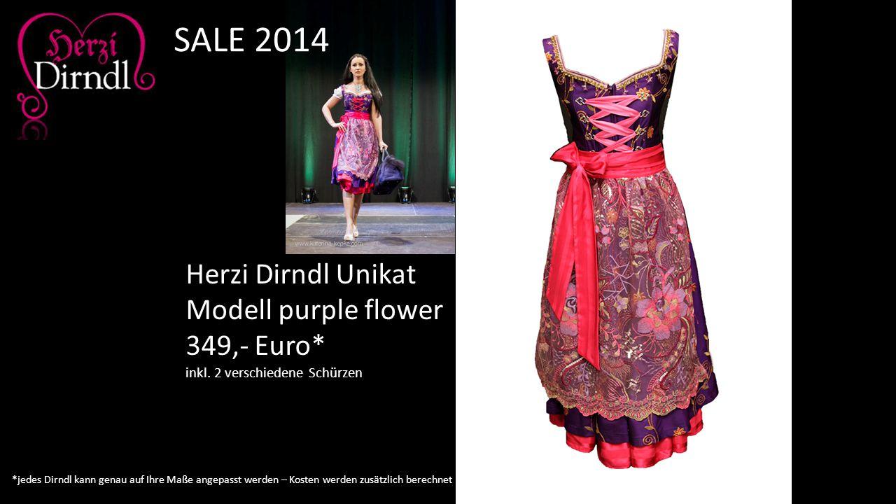 Herzi Dirndl Unikat Modell purple flower 349,- Euro* inkl. 2 verschiedene Schürzen SALE 2014 *jedes Dirndl kann genau auf Ihre Maße angepasst werden –