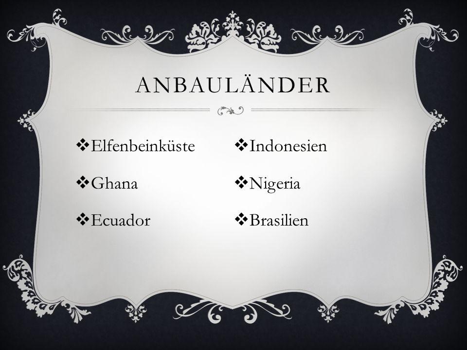 ANBAULÄNDER  Elfenbeinküste  Ghana  Ecuador  Indonesien  Nigeria  Brasilien