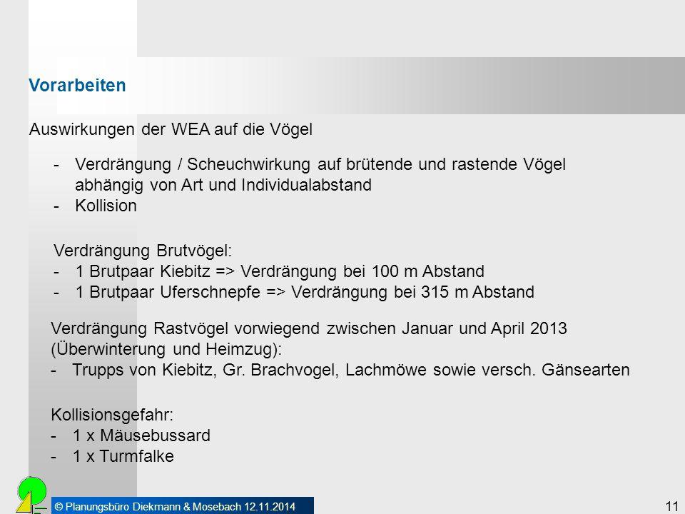 © Planungsbüro Diekmann & Mosebach 12.11.2014 11 Auswirkungen der WEA auf die Vögel Vorarbeiten -Verdrängung / Scheuchwirkung auf brütende und rastend