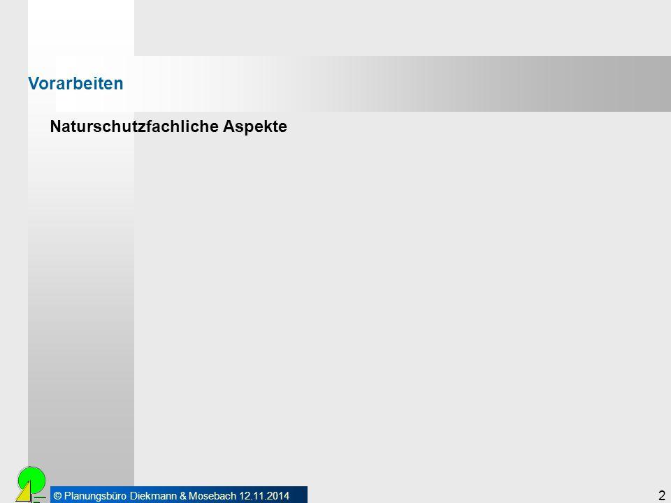 © Planungsbüro Diekmann & Mosebach 12.11.2014 2 Naturschutzfachliche Aspekte Vorarbeiten