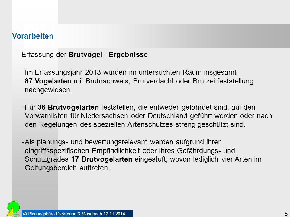 © Planungsbüro Diekmann & Mosebach 12.11.2014 5 Erfassung der Brutvögel - Ergebnisse Vorarbeiten -Im Erfassungsjahr 2013 wurden im untersuchten Raum i