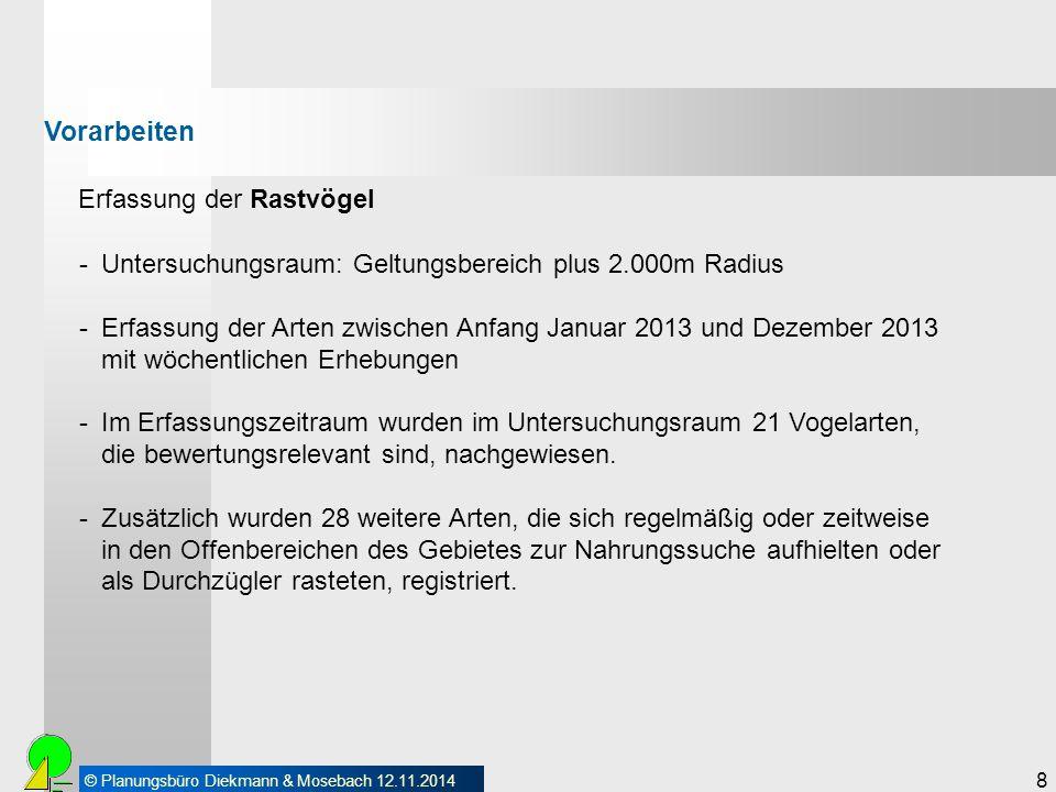 © Planungsbüro Diekmann & Mosebach 12.11.2014 Erfassung der Rastvögel 8 Vorarbeiten -Untersuchungsraum: Geltungsbereich plus 2.000m Radius -Erfassung