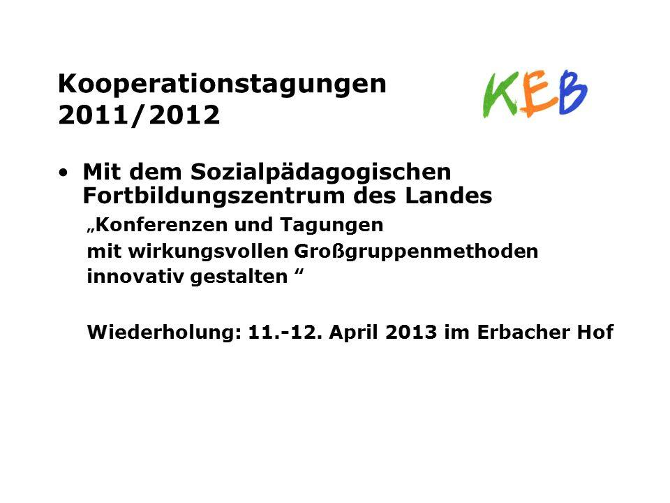 """Kooperationstagungen 2011/2012 Mit dem Sozialpädagogischen Fortbildungszentrum des Landes """" Konferenzen und Tagungen mit wirkungsvollen Großgruppenmet"""