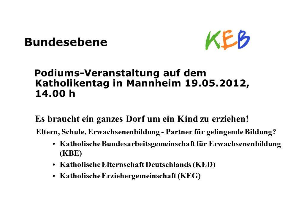 Bundesebene Podiums-Veranstaltung auf dem Katholikentag in Mannheim 19.05.2012, 14.00 h Es braucht ein ganzes Dorf um ein Kind zu erziehen! Eltern, Sc