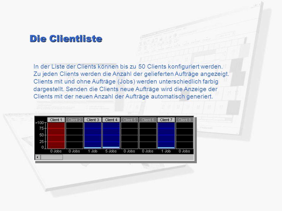 In der Liste der Clients können bis zu 50 Clients konfiguriert werden. Zu jeden Clients werden die Anzahl der gelieferten Aufträge angezeigt. Clients