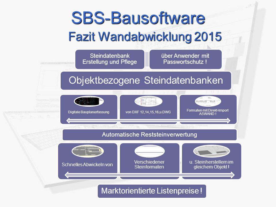 SBS-Bausoftware Fazit Wandabwicklung 2015 Steindatenbank Erstellung und Pflege über Anwender mit Passwortschutz ! Objektbezogene Steindatenbanken Digi