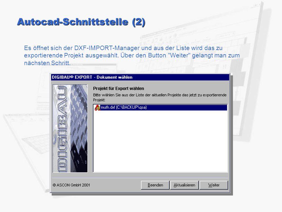 Autocad-Schnittstelle (2) Es öffnet sich der DXF-IMPORT-Manager und aus der Liste wird das zu exportierende Projekt ausgewählt. Über den Button