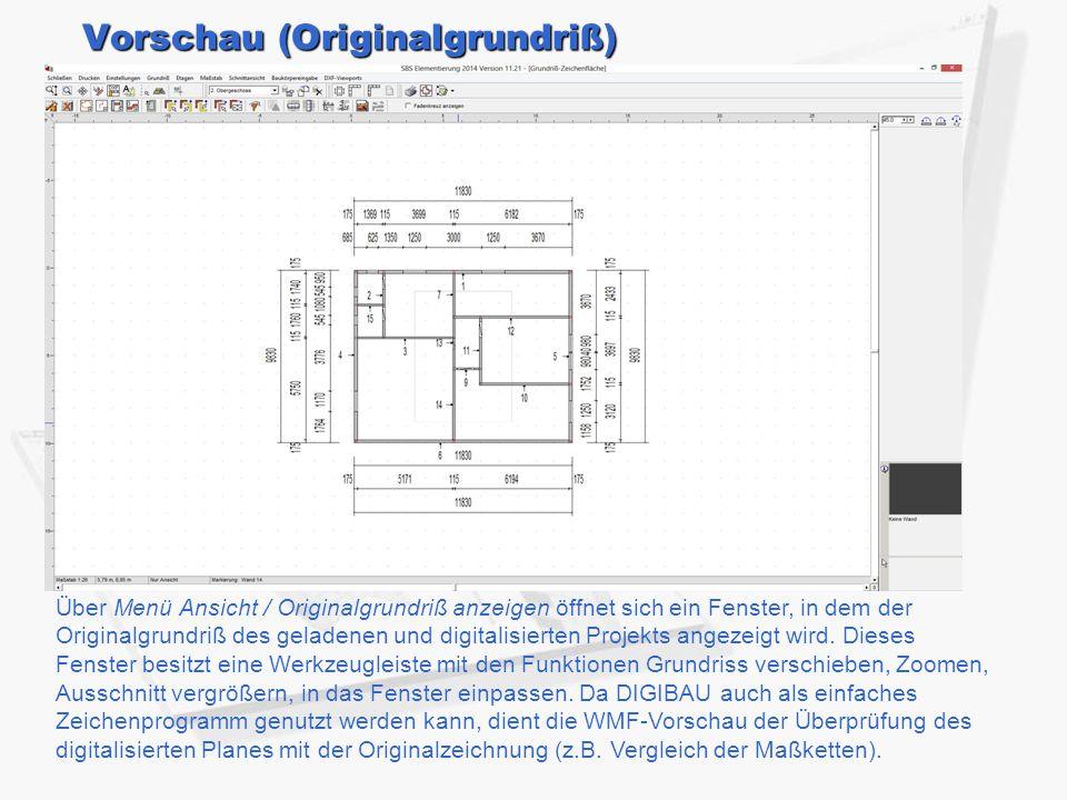 Vorschau (Originalgrundriß) Über Menü Ansicht / Originalgrundriß anzeigen öffnet sich ein Fenster, in dem der Originalgrundriß des geladenen und digitalisierten Projekts angezeigt wird.