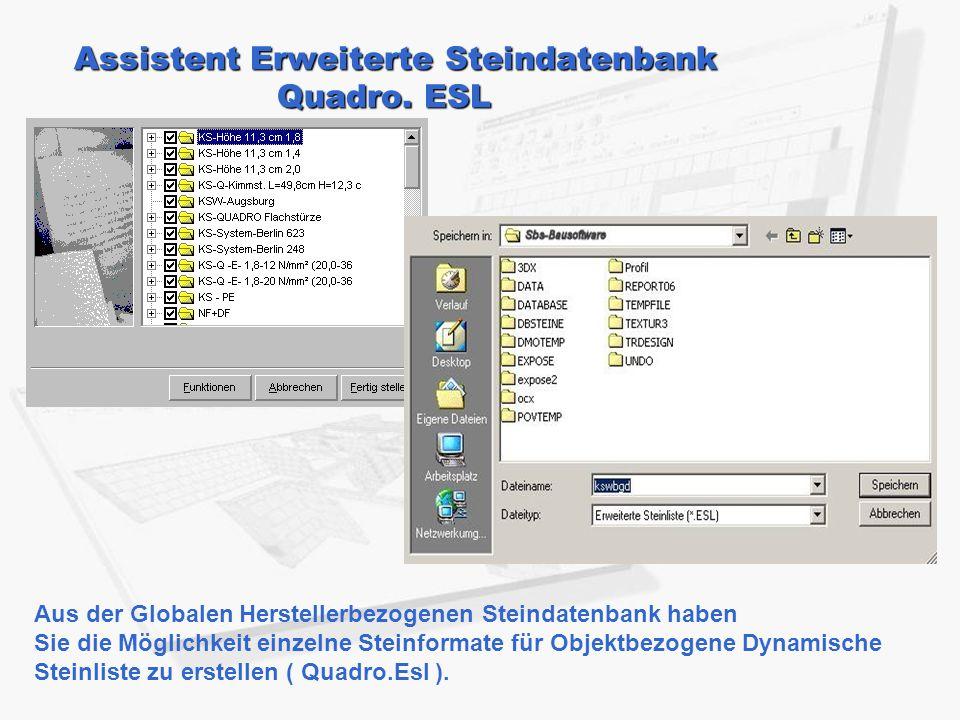 Assistent Erweiterte Steindatenbank Quadro. ESL Aus der Globalen Herstellerbezogenen Steindatenbank haben Sie die Möglichkeit einzelne Steinformate fü