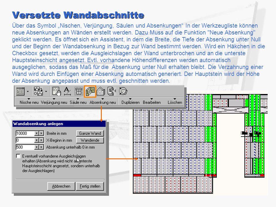 """Versetzte Wandabschnitte Über das Symbol """"Nischen, Verjüngung, Säulen und Absenkungen In der Werkzeugliste können neue Absenkungen an Wänden erstellt werden."""