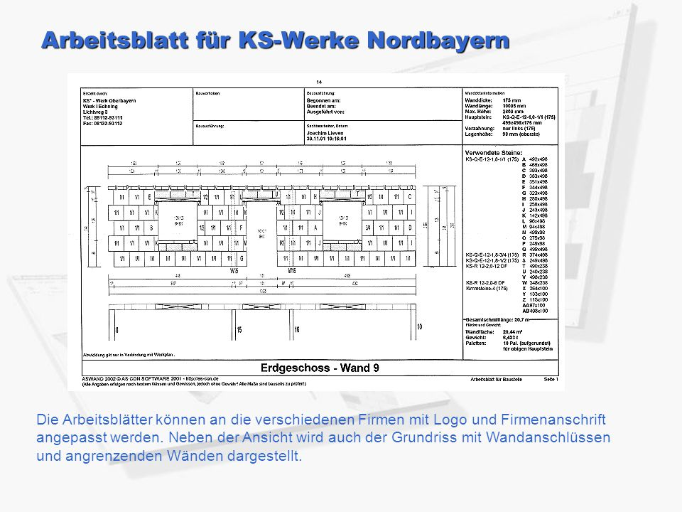 Arbeitsblatt für KS-Werke Nordbayern Die Arbeitsblätter können an die verschiedenen Firmen mit Logo und Firmenanschrift angepasst werden.