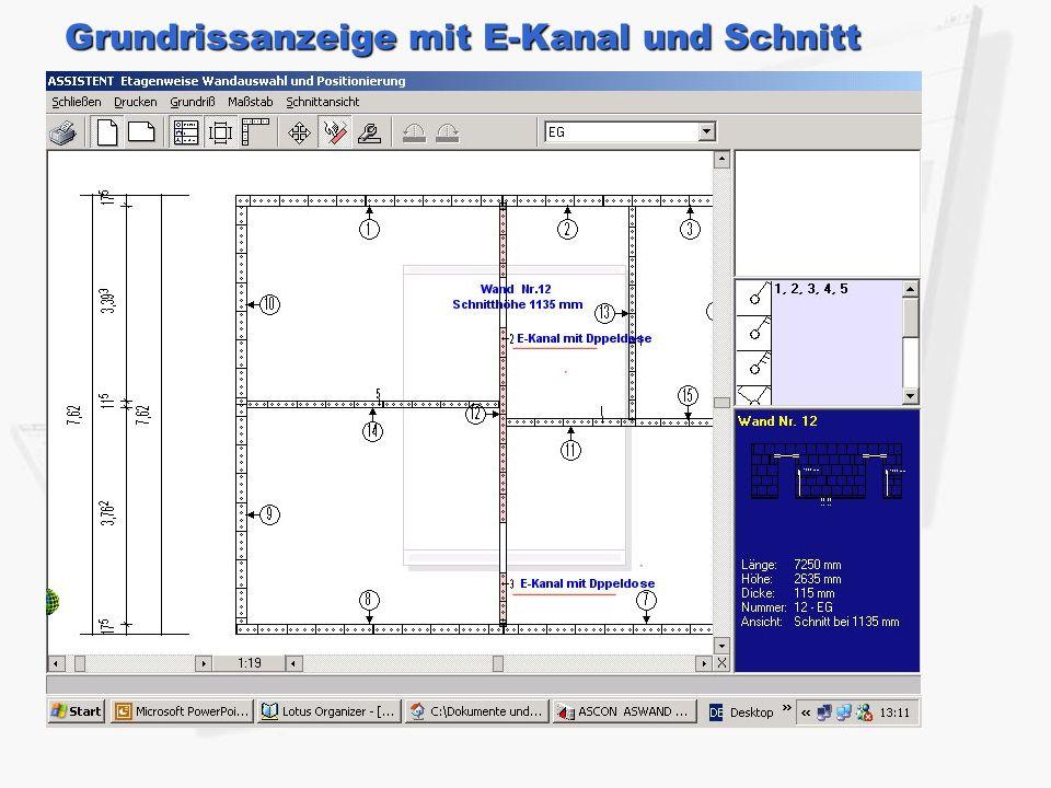 Grundrissanzeige mit E-Kanal und Schnitt
