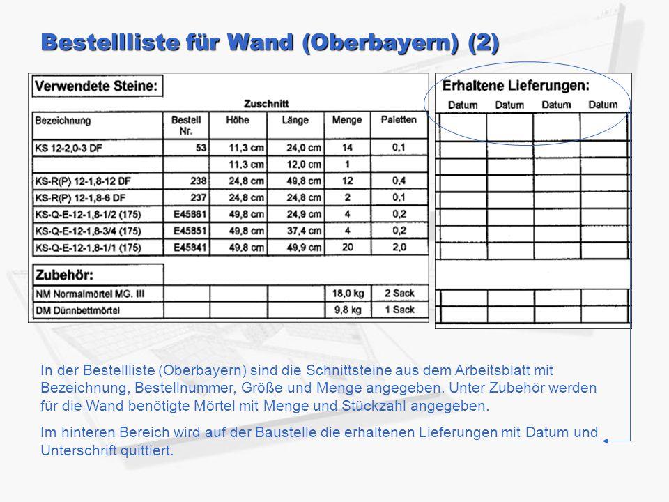 Bestellliste für Wand (Oberbayern) (2) In der Bestellliste (Oberbayern) sind die Schnittsteine aus dem Arbeitsblatt mit Bezeichnung, Bestellnummer, Größe und Menge angegeben.