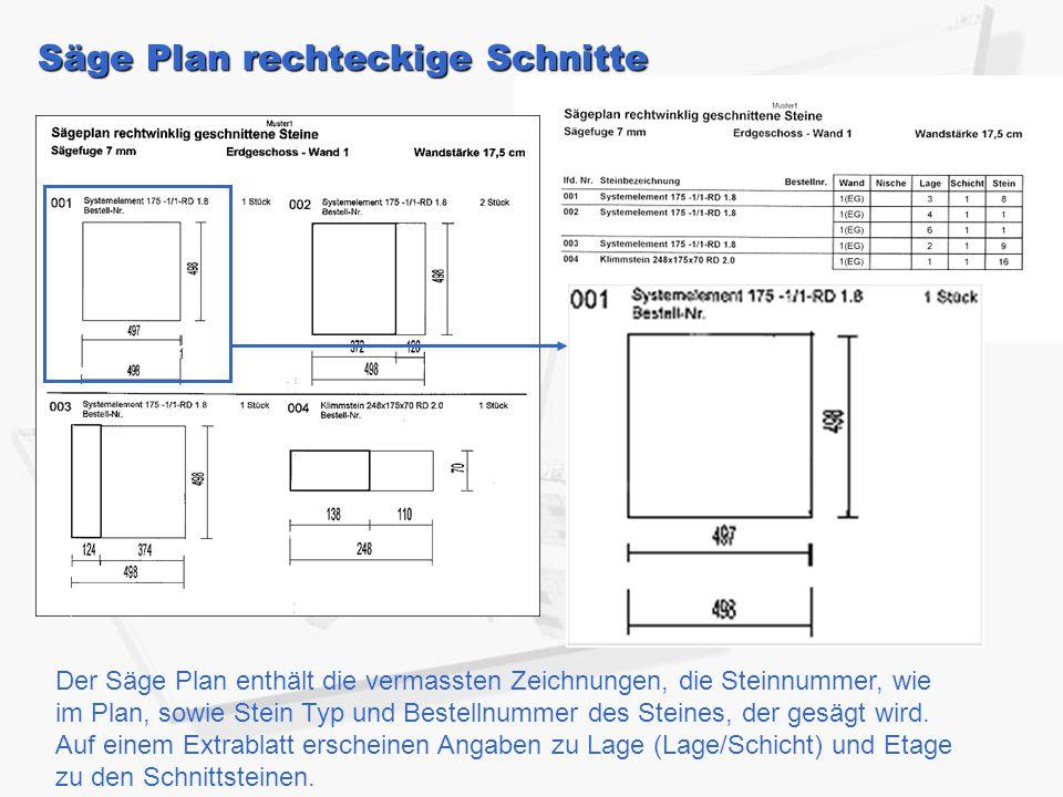 Säge Plan rechteckige Schnitte Der Säge Plan enthält die vermassten Zeichnungen, die Steinnummer, wie im Plan, sowie Stein Typ und Bestellnummer des S