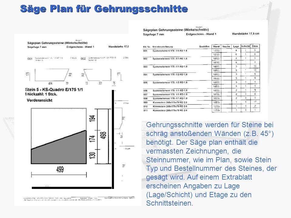 Säge Plan für Gehrungsschnitte Gehrungsschnitte werden für Steine bei schräg anstoßenden Wänden (z.B. 45°) benötigt. Der Säge plan enthält die vermass