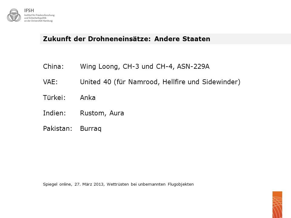 Zukunft der Drohneneinsätze: Andere Staaten China: Wing Loong, CH-3 und CH-4, ASN-229A VAE: United 40 (für Namrood, Hellfire und Sidewinder) Türkei: A