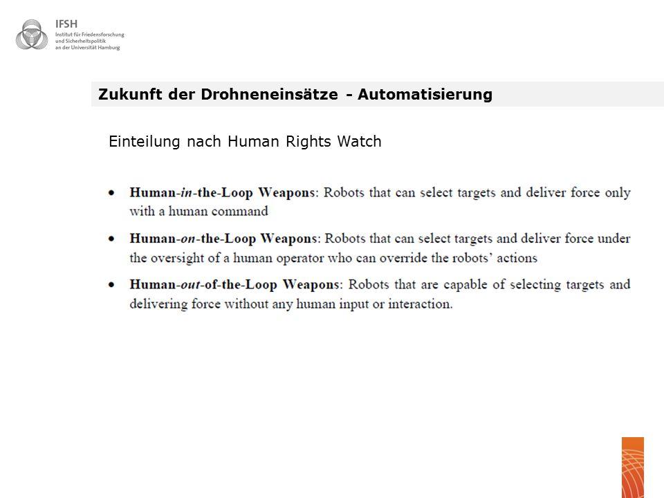 Zukunft der Drohneneinsätze - Automatisierung Einteilung nach Human Rights Watch
