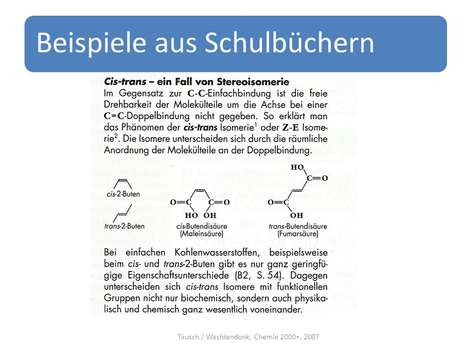 Beispiele aus Schulbüchern Tausch / Wachtendonk, Chemie 2000+, 2007