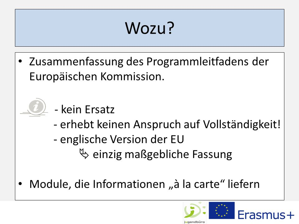 Wozu. Zusammenfassung des Programmleitfadens der Europäischen Kommission.