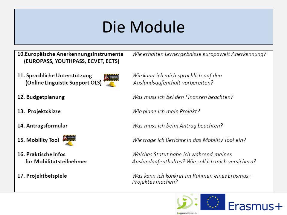 Die Module 10.Europäische Anerkennungsinstrumente Wie erhalten Lernergebnisse europaweit Anerkennung.