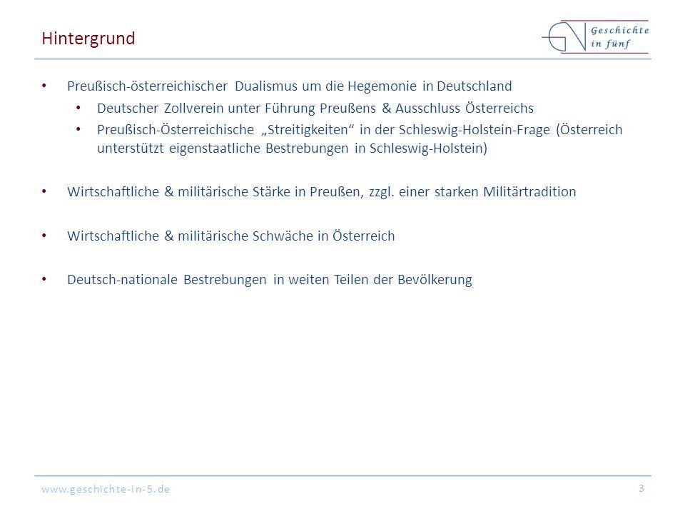 www.geschichte-in-5.de Hintergrund Preußisch-österreichischer Dualismus um die Hegemonie in Deutschland Deutscher Zollverein unter Führung Preußens &