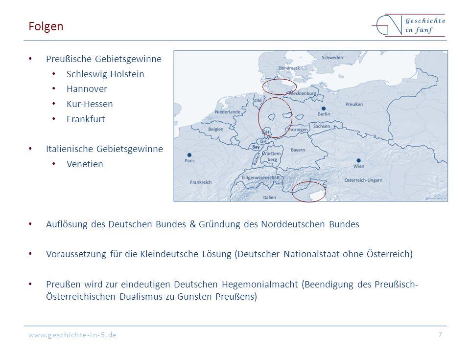 www.geschichte-in-5.de Folgen Preußische Gebietsgewinne Schleswig-Holstein Hannover Kur-Hessen Frankfurt Italienische Gebietsgewinne Venetien Auflösun