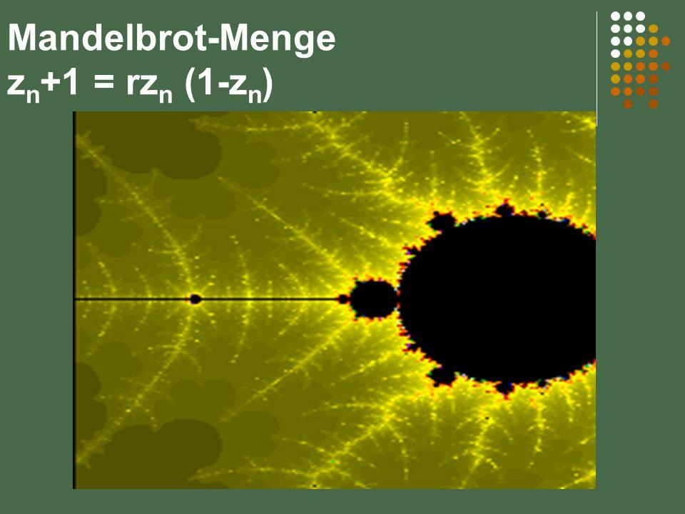 Mandelbrot-Menge z n +1 = rz n (1-z n )
