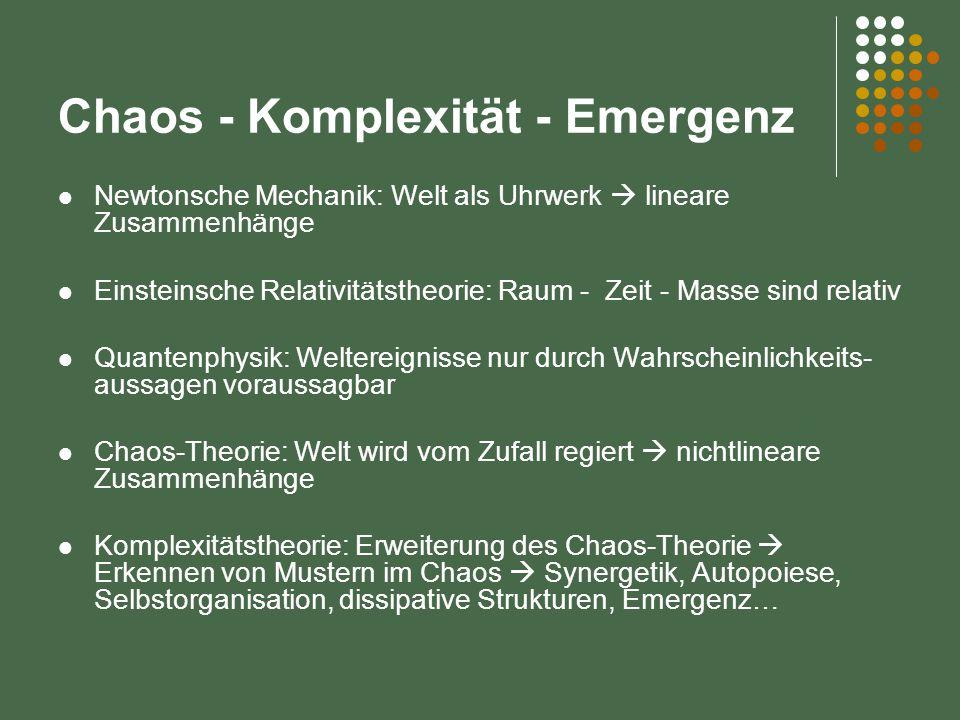 Chaos - Komplexität - Emergenz Newtonsche Mechanik: Welt als Uhrwerk  lineare Zusammenhänge Einsteinsche Relativitätstheorie: Raum - Zeit - Masse sind relativ Quantenphysik: Weltereignisse nur durch Wahrscheinlichkeits- aussagen voraussagbar Chaos-Theorie: Welt wird vom Zufall regiert  nichtlineare Zusammenhänge Komplexitätstheorie: Erweiterung des Chaos-Theorie  Erkennen von Mustern im Chaos  Synergetik, Autopoiese, Selbstorganisation, dissipative Strukturen, Emergenz…