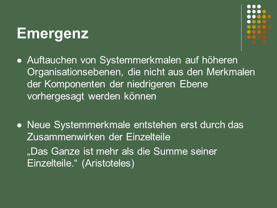 """Emergenz Auftauchen von Systemmerkmalen auf höheren Organisationsebenen, die nicht aus den Merkmalen der Komponenten der niedrigeren Ebene vorhergesagt werden können Neue Systemmerkmale entstehen erst durch das Zusammenwirken der Einzelteile """"Das Ganze ist mehr als die Summe seiner Einzelteile. (Aristoteles)"""
