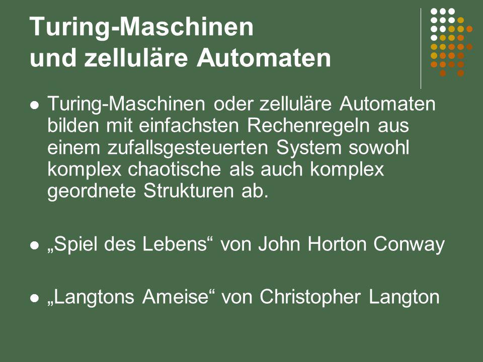 Turing-Maschinen und zelluläre Automaten Turing-Maschinen oder zelluläre Automaten bilden mit einfachsten Rechenregeln aus einem zufallsgesteuerten System sowohl komplex chaotische als auch komplex geordnete Strukturen ab.