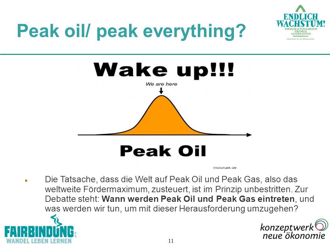 11 Die Tatsache, dass die Welt auf Peak Oil und Peak Gas, also das weltweite Fördermaximum, zusteuert, ist im Prinzip unbestritten. Zur Debatte steht: