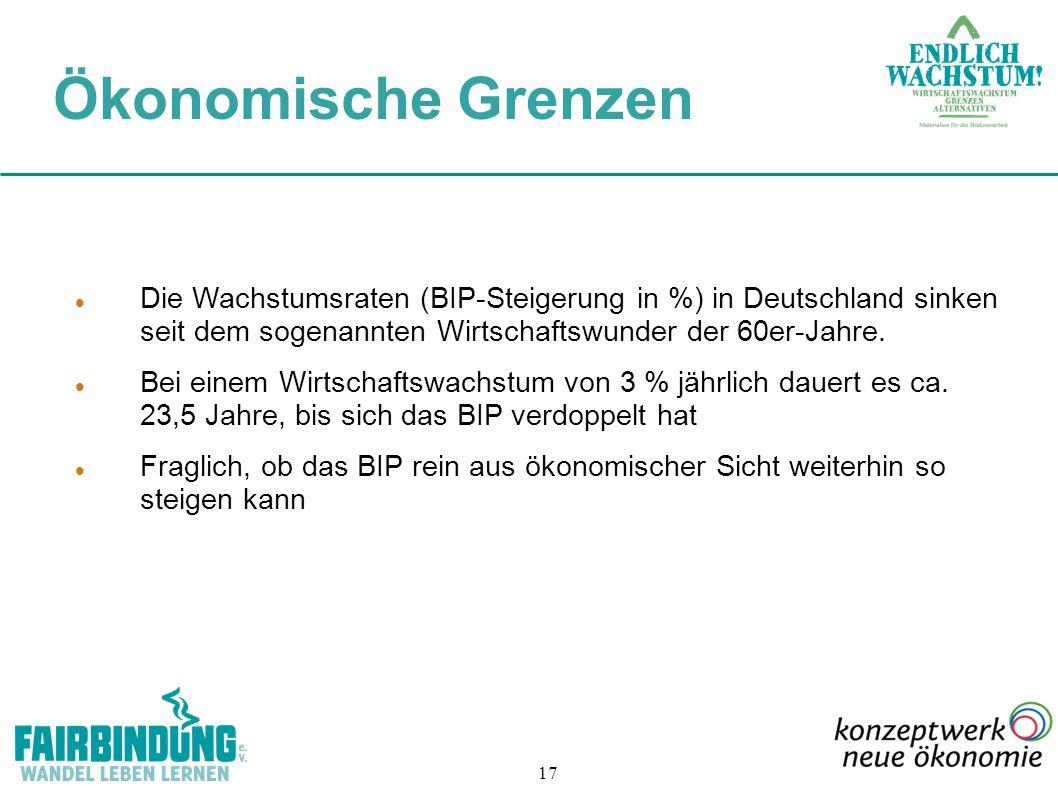 17 Die Wachstumsraten (BIP-Steigerung in %) in Deutschland sinken seit dem sogenannten Wirtschaftswunder der 60er-Jahre. Bei einem Wirtschaftswachstum