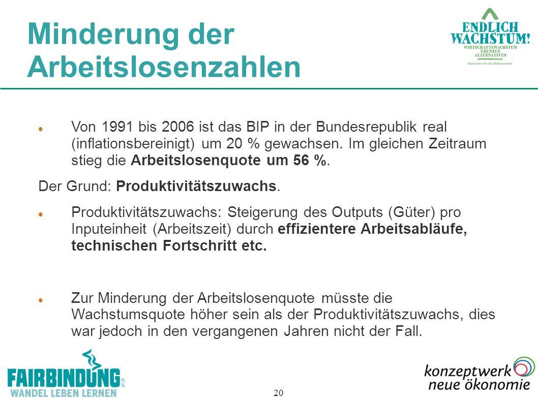 20 Von 1991 bis 2006 ist das BIP in der Bundesrepublik real (inflationsbereinigt) um 20 % gewachsen. Im gleichen Zeitraum stieg die Arbeitslosenquote