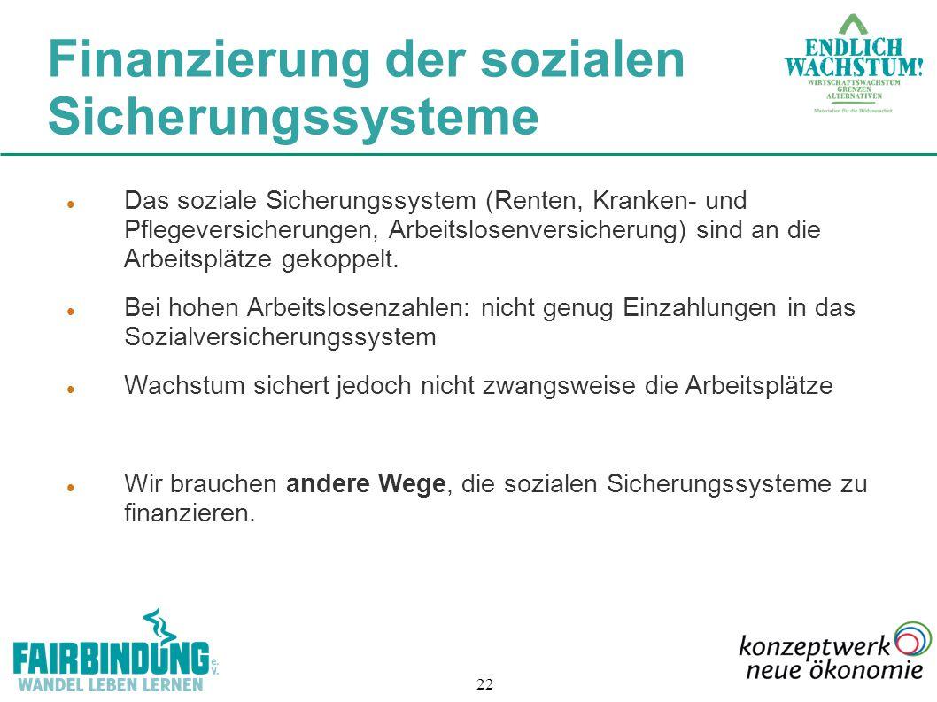 22 Das soziale Sicherungssystem (Renten, Kranken- und Pflegeversicherungen, Arbeitslosenversicherung) sind an die Arbeitsplätze gekoppelt. Bei hohen A