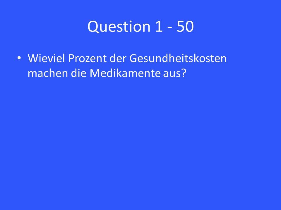 Question 1 - 50 Wieviel Prozent der Gesundheitskosten machen die Medikamente aus?