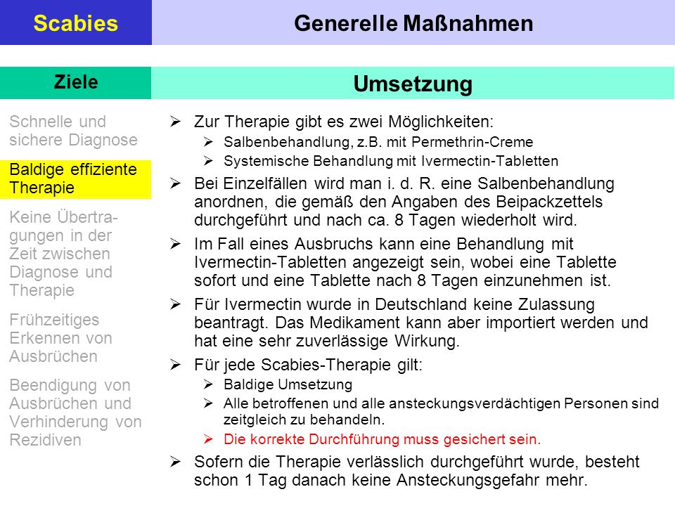 Generelle MaßnahmenScabies Schnelle und sichere Diagnose Baldige effiziente Therapie Keine Übertra- gungen in der Zeit zwischen Diagnose und Therapie