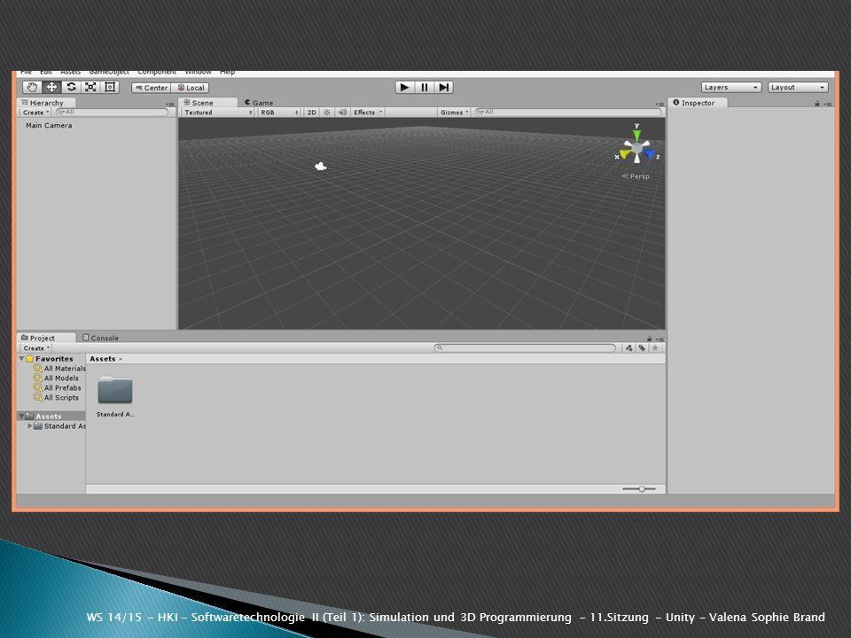 WS 14/15 - HKI - Softwaretechnologie II (Teil 1): Simulation und 3D Programmierung – 11.Sitzung - Unity - Valena Sophie Brand