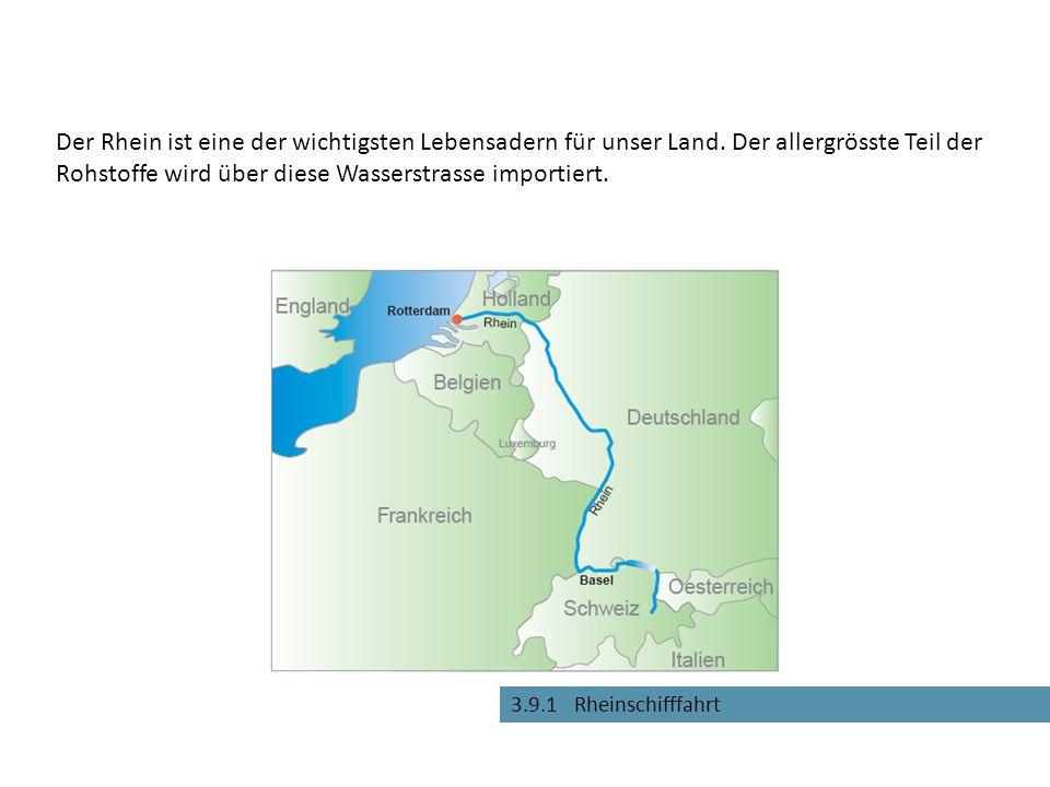 3.9.1 Rheinschifffahrt Der Rhein ist eine der wichtigsten Lebensadern für unser Land. Der allergrösste Teil der Rohstoffe wird über diese Wasserstrass