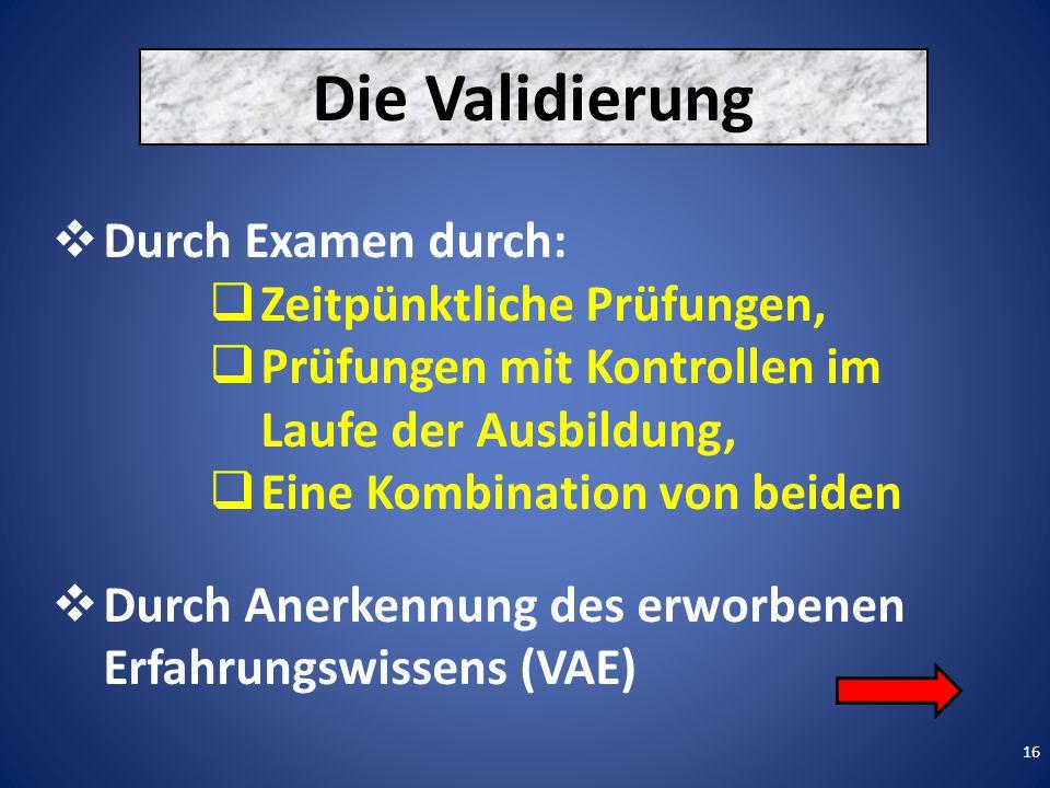 16 Die Validierung  Durch Examen durch:  Zeitpünktliche Prüfungen,  Prüfungen mit Kontrollen im Laufe der Ausbildung,  Eine Kombination von beiden  Durch Anerkennung des erworbenen Erfahrungswissens (VAE)