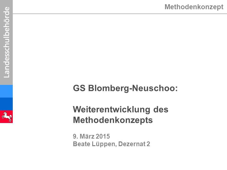 Methodenkonzept GS Blomberg-Neuschoo: Weiterentwicklung des Methodenkonzepts 9. März 2015 Beate Lüppen, Dezernat 2