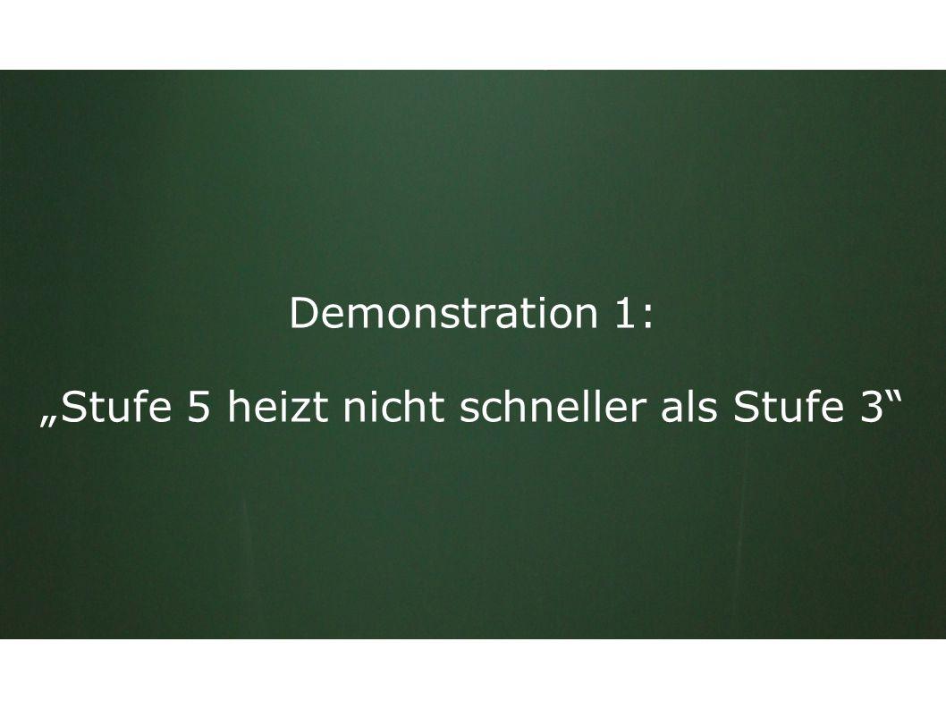 """Demonstration 1: """"Stufe 5 heizt nicht schneller als Stufe 3"""