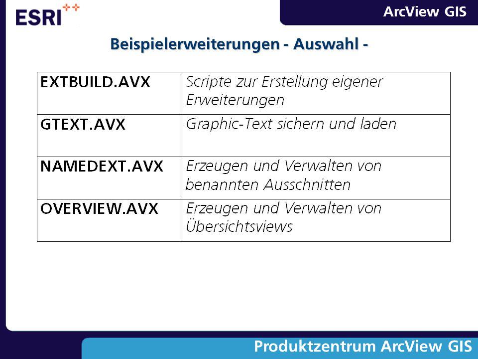 ArcView GIS Produktzentrum ArcView GIS Beispielerweiterungen - Auswahl -
