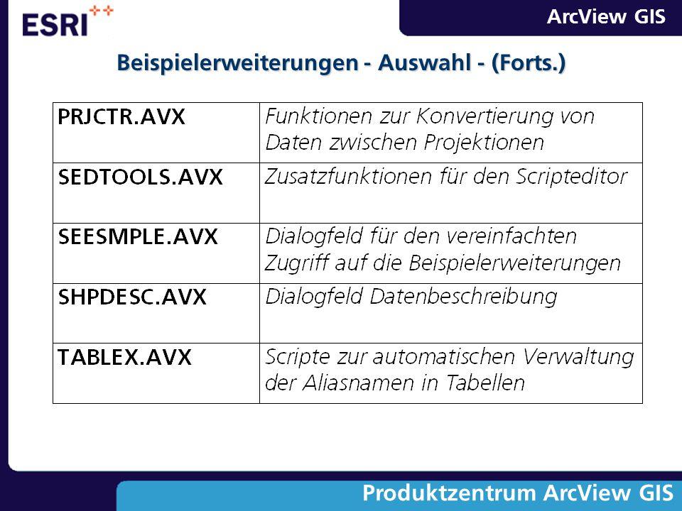ArcView GIS Produktzentrum ArcView GIS Beispielerweiterungen - Auswahl - (Forts.)