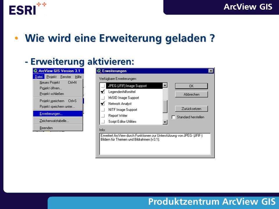 ArcView GIS Produktzentrum ArcView GIS Wie wird eine Erweiterung geladen ? - Erweiterung aktivieren: Wie wird eine Erweiterung geladen ? - Erweiterung
