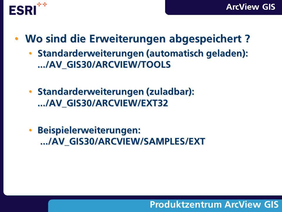 ArcView GIS Produktzentrum ArcView GIS Wo sind die Erweiterungen abgespeichert ? Wo sind die Erweiterungen abgespeichert ? Standarderweiterungen (auto