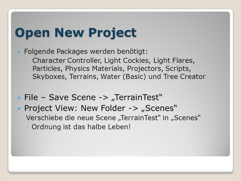 Terrain Generieren Create Object – 3D Object – Terrain Terrain (Script) Einstellungen: Größe und Basis-Höhe einstellen (Bsp.