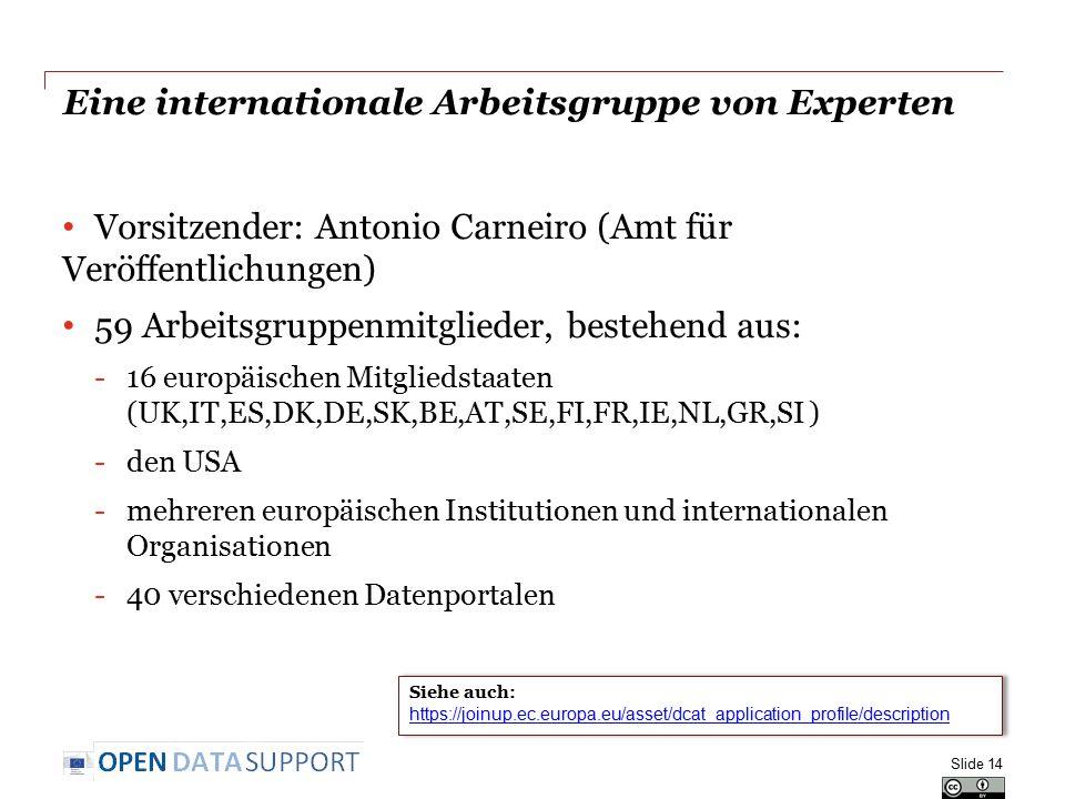 Eine internationale Arbeitsgruppe von Experten Vorsitzender: Antonio Carneiro (Amt für Veröffentlichungen) 59 Arbeitsgruppenmitglieder, bestehend aus: